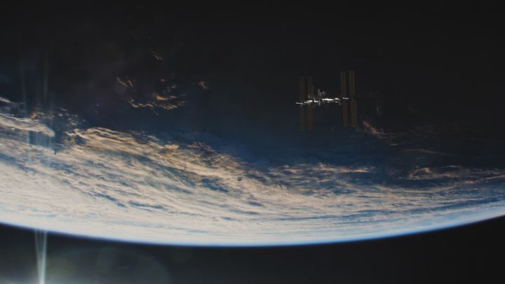 The International Space Station, as seen against the Earth.