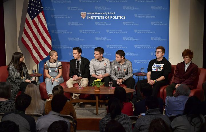 Survivors of the shooting at a high school in Parkland, Florida, speak on a panel at Harvard University on Mar