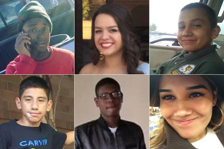 """Clockwise from top left: Raymond Phillips, 15, <a href=""""http://www.theadvocate.com/baton_rouge/news/crime_police/article_584f1944-137b-11e8-a426-aba90d78e523.html"""" target=""""_blank"""" role=""""link"""" data-ylk=""""subsec:paragraph;itc:0;cpos:__RAPID_INDEX__;pos:__RAPID_SUBINDEX__;elm:context_link"""">killed in Baton Rouge, Louisiana</a>; Alyssa Neitz, 17, killed in <a href=""""http://www.knoe.com/content/news/Family-of-17-year-old-shooting-victim-speaks-out-475100323.html"""" target=""""_blank"""" role=""""link"""" data-ylk=""""subsec:paragraph;itc:0;cpos:__RAPID_INDEX__;pos:__RAPID_SUBINDEX__;elm:context_link"""">Ouachita Parish, Louisiana</a>; Jay Diaz, 15, <a href=""""https://www.elpasotimes.com/story/news/crime/2018/02/21/man-arrested-accidental-shotgun-shooting-death-teenage-boy-lower-valley/360010002/"""" target=""""_blank"""" role=""""link"""" data-ylk=""""subsec:paragraph;itc:0;cpos:__RAPID_INDEX__;pos:__RAPID_SUBINDEX__;elm:context_link"""">killed in El Paso;</a> Eileen Viveros-Vargas, 18, <a href=""""http://minnesota.cbslocal.com/2018/03/12/st-paul-shooting-pregnant-victim/"""" target=""""_blank"""" role=""""link"""" data-ylk=""""subsec:paragraph;itc:0;cpos:__RAPID_INDEX__;pos:__RAPID_SUBINDEX__;elm:context_link"""">killed in St. Paul, Minnesota</a>; Daekwon Tobar, 17, <a href=""""http://www.wndu.com/content/news/Police-on-scene-of-shooting-in-South-Bend-474392653.html"""" target=""""_blank"""" role=""""link"""" data-ylk=""""subsec:paragraph;itc:0;cpos:__RAPID_INDEX__;pos:__RAPID_SUBINDEX__;elm:context_link"""">killed in South Bend, Indiana</a>; and Andres Delgado IV, 14, <a href=""""http://www.kens5.com/article/news/crime/still-no-arrests-in-east-side-shooting-that-killed-14-year-old/273-530788747"""" target=""""_blank"""" role=""""link"""" data-ylk=""""subsec:paragraph;itc:0;cpos:__RAPID_INDEX__;pos:__RAPID_SUBINDEX__;elm:context_link"""">killed in San Antonio.</a>"""