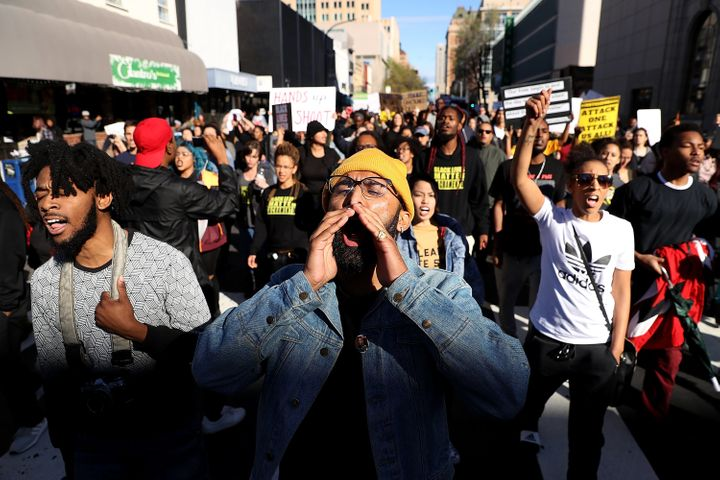 Protesters march in Sacramento, California, on March 22, 2018, after two police officers shot and killed Stephon Clark,