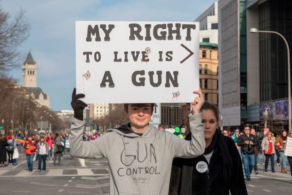 Demonstratorsarrive for the March For Our Lives rally against gun violence in Washington, D.C.