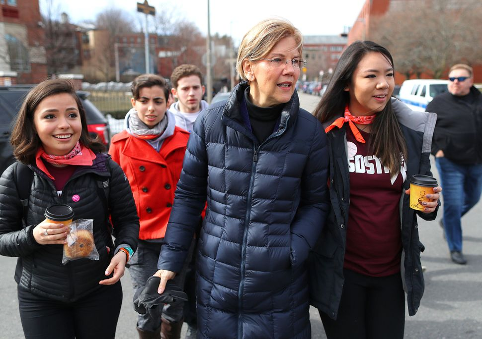 Senator Elizabeth Warren joins students gathered at Madison Park High School before the March for Our Lives in Boston.