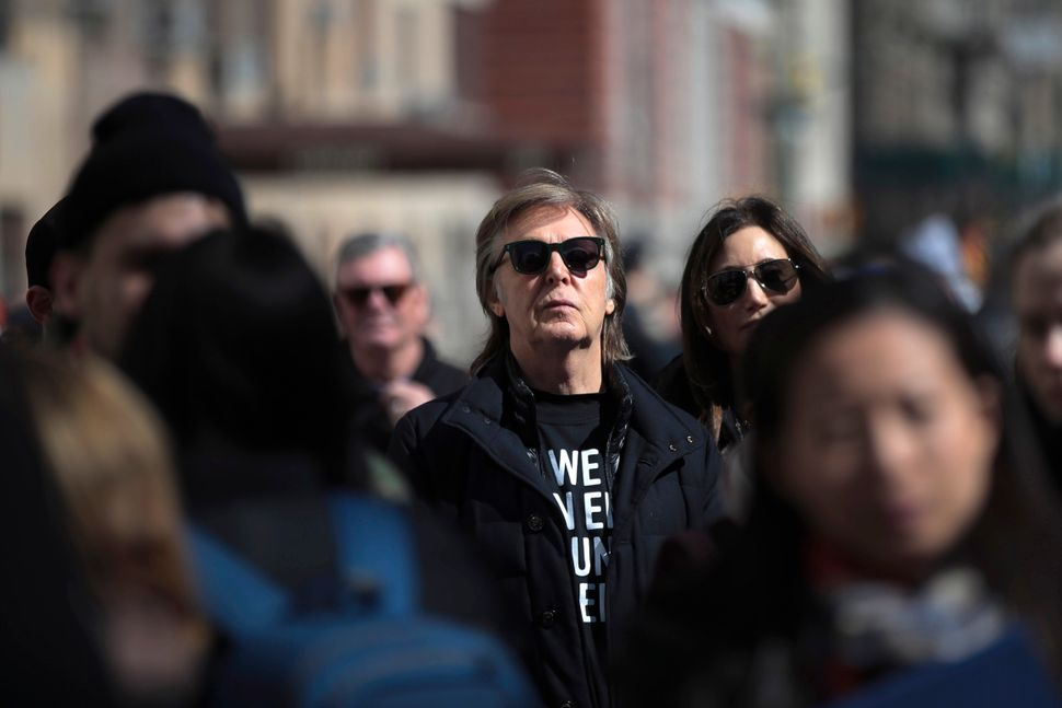 Sir Paul McCartney attends the March For Our Lives.