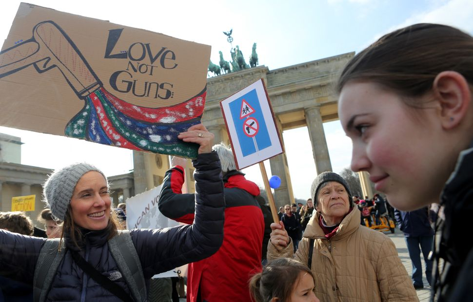 Demonstrators protest at the March for our Lives demonstration in Berlin, Germany. The protest in Berlin was intended to show