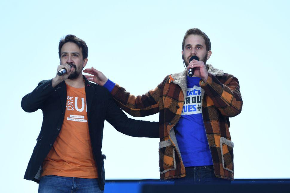 Singer Lin-Manuel Miranda (L) and Singer Ben Platt perform.