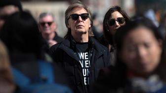 NEW YORK, NY - MARCH 24: Sir Paul McCartney attends the March For Our Lives just north of Columbus Circle, March 24, 2018 in New York City. Thousands of demonstrators, including students, teachers and parents are gathering in Washington, New York City and other cities across the country for an anti-gun violence rally organized by survivors of the Marjory Stoneman Douglas High School school shooting on February 14 that left 17 dead. More than 800 related events are taking place around the world to call for legislative action to address school safety and gun violence. (Photo by Drew Angerer/Getty Images)