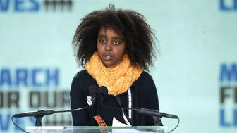 WASHINGTON, DC - MARCH 24:  Eleven-year-old Naomi Wadler addresses the March for Our Lives rally on March 24, 2018 in Washington, DC. Hundreds of thousands of demonstrators, including students, teachers and parents gathered in Washington for the anti-gun violence rally organized by survivors of the Marjory Stoneman Douglas High School shooting on February 14 that left 17 dead. More than 800 related events are taking place around the world to call for legislative action to address school safety and gun violence.  (Photo by Chip Somodevilla/Getty Images)