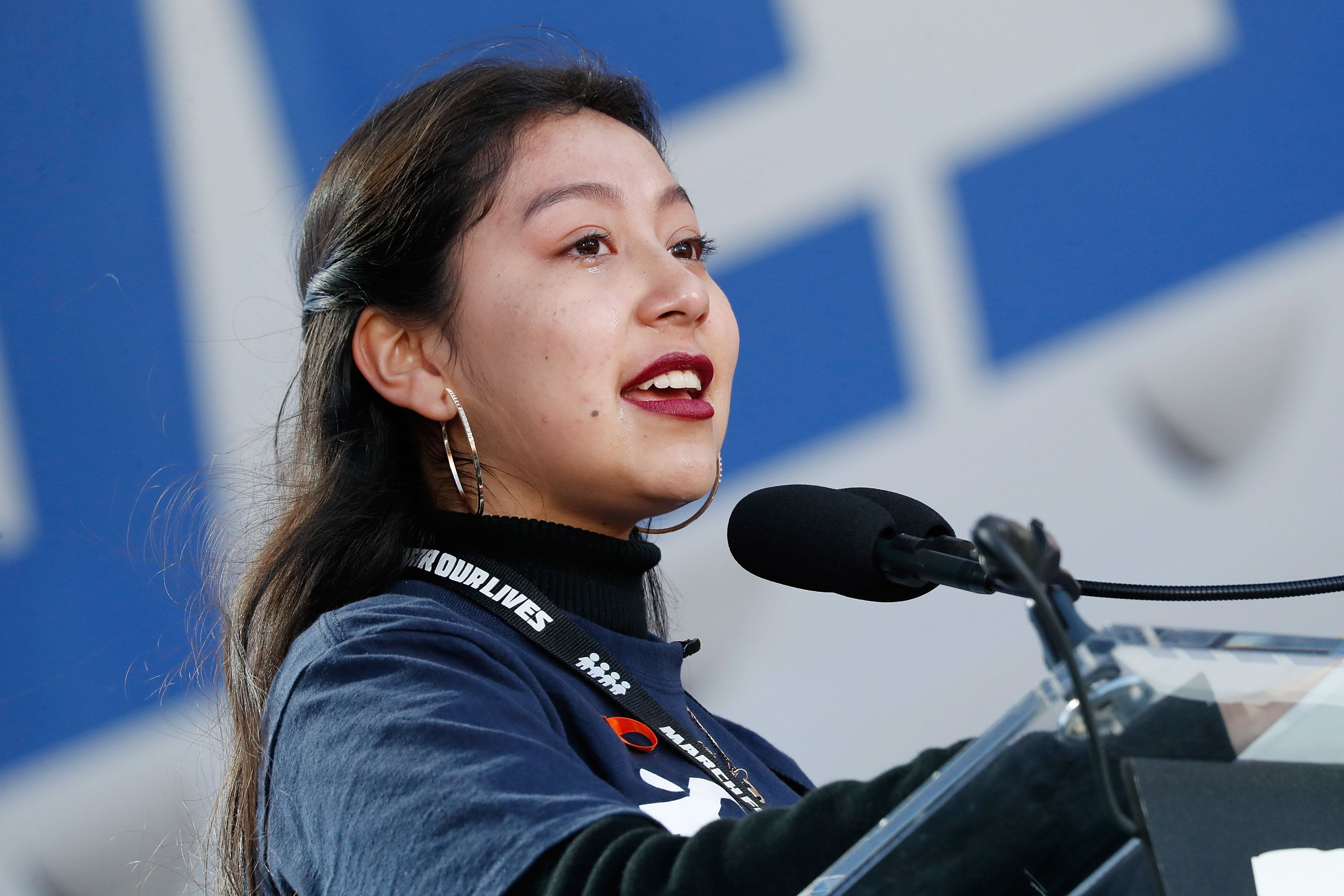 WASHINGTON, DC - MARCH 24:  California high school student Edna Chavez speaks onstage at March For Our Lives on March 24, 2018 in Washington, DC.  (Photo by Paul Morigi/Getty Images for March For Our Lives)