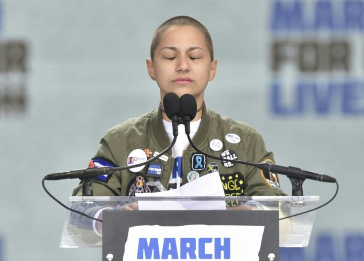 Marjory Stoneman Douglas High School student Emma Gonzalez cries as she addresses the crowd at the March For Our Lives r