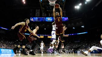 ATLANTA, GA - MARCH 24: Marques Townes #5 of the Loyola Chicago Ramblers grabs a rebound during the fourth round of the 2018 NCAA Men's Basketball Tournament held at Philips Arena on March 24, 2018 in Atlanta, Georgia. (Photo by Brett Wilhelm/NCAA Photos via Getty Images)