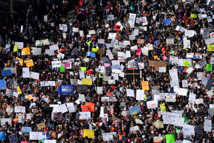 Thousands of protesters packed Pennsylvania Avenue in Washington during the March for Our Lives gathering on Saturday. The mo
