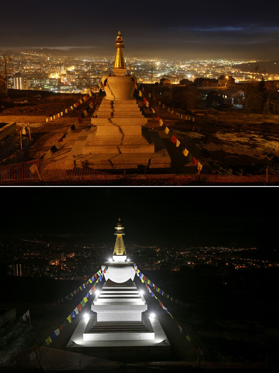 The Stupa of Enlightenment, a holy monument constructed of granite at the Buddhist Center in Krasnoyarsk, during Earth Hour (