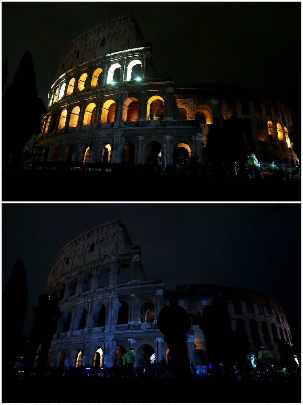 The Colosseum, before and after its lights were switched off.