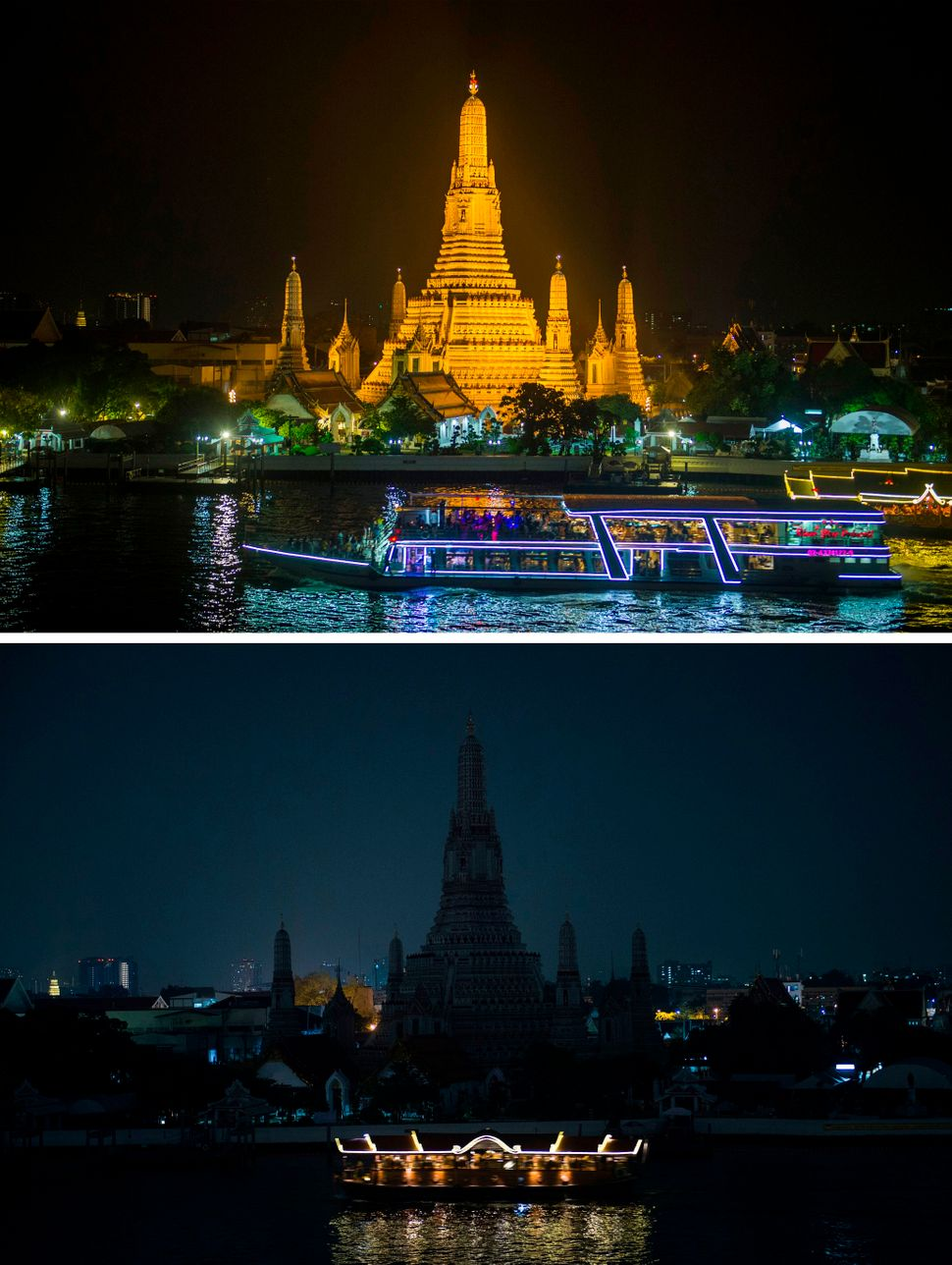 Tourist boats pass the Wat Arun, a major Buddhist temple and landmark in Thailand, before and during Earth Hour.
