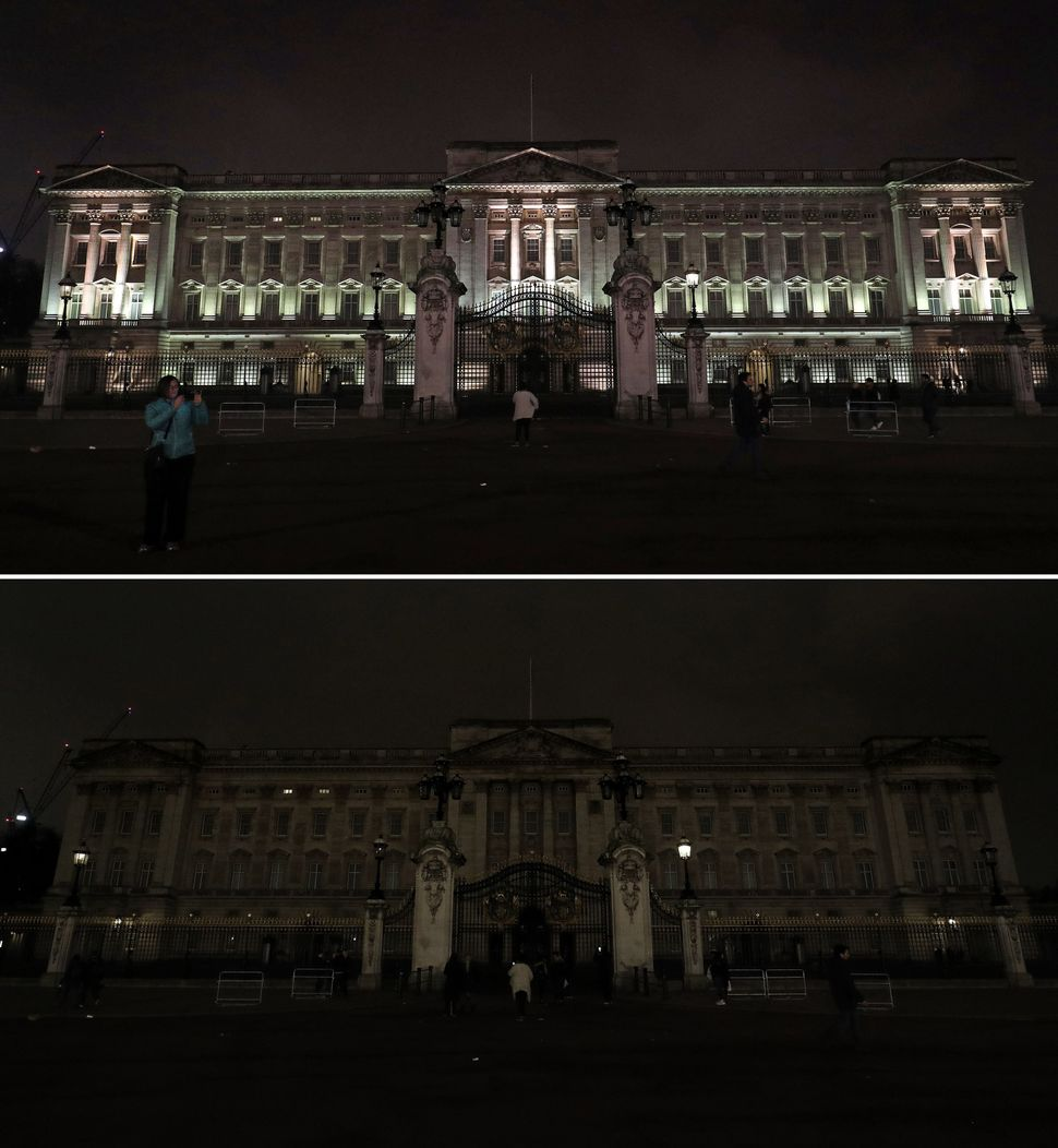 The palace, before and after switching off its lights.