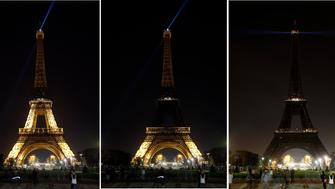 PARIS, FRANCE - MARCH 24:  In this composite image a comparison has been made of the Eiffel Tower submerging into darkness as part of the Earth Hour switch-off on March 24, 2018 in Paris, France. On the initiative of the World Wide Fund for Nature (WWF) hundreds of millions of people across more than 150 countries to turn off their lights for 60 minutes on Saturday night at 8:30 pm local time in a symbolic show of support for the planet.  (Photo by Chesnot/Getty Images)