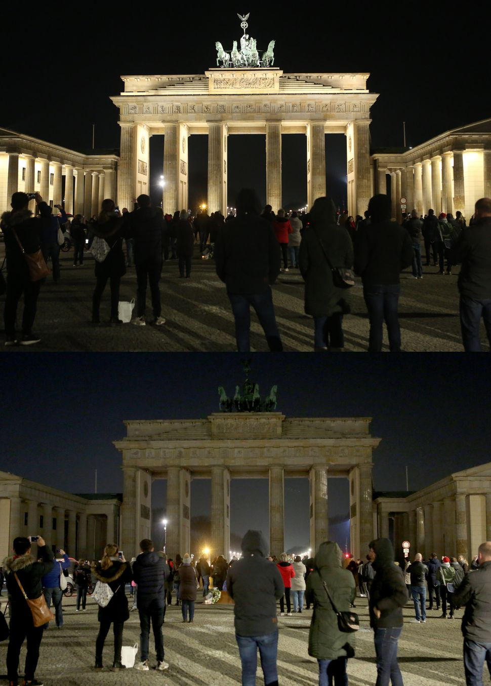 The Brandenburg Gate, before and during Earth Hour.