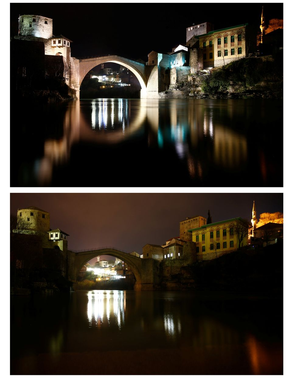 The Old Bridge in Mostar, Bosnia and Herzegovina, before (top) and during (bottom) Earth Hour.