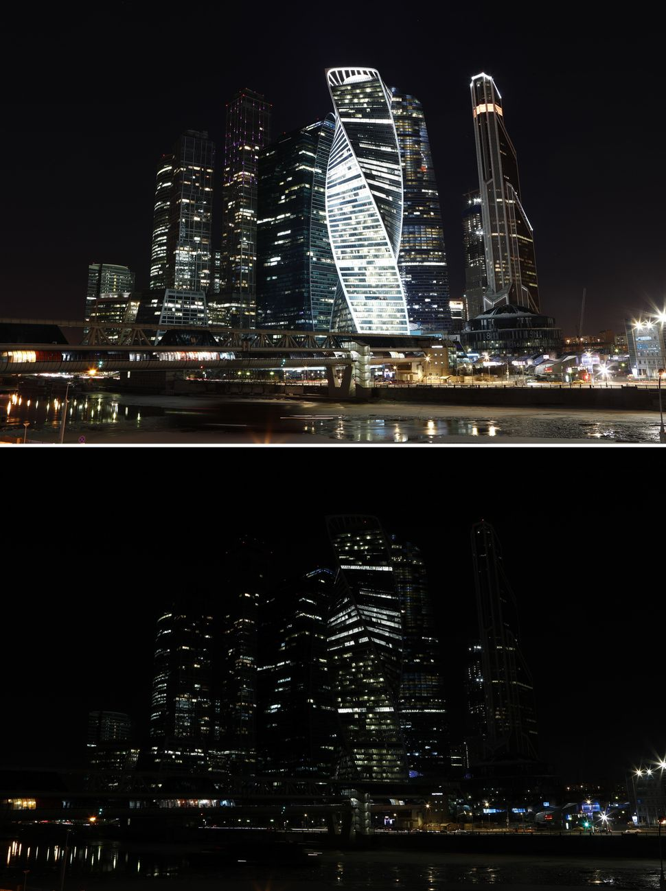 "The buildings of the Moscow International Business Center, also known as ""Moskva-City,"" before and during the commemoration o"