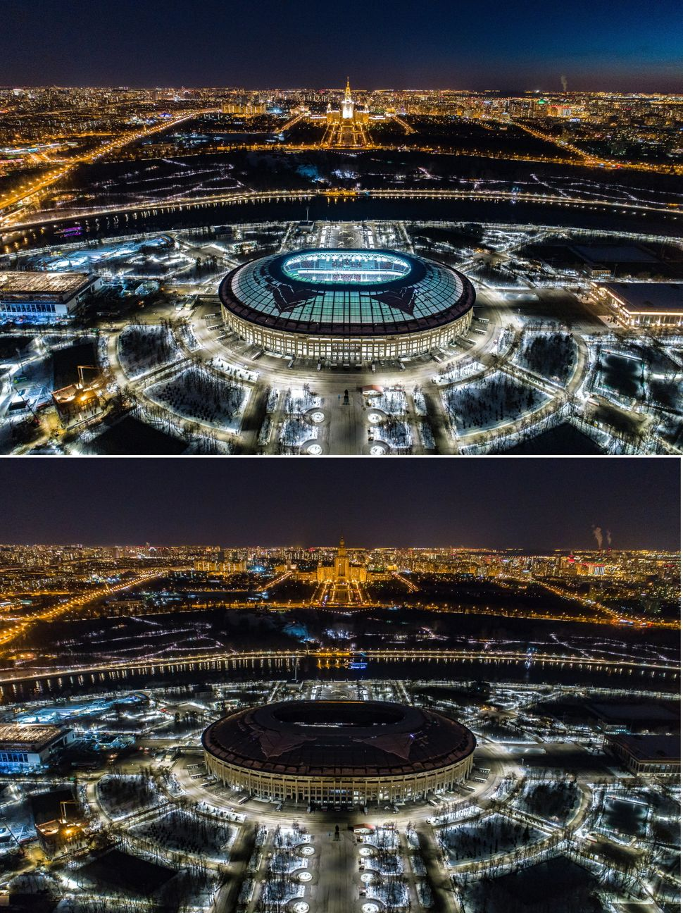 Moscow's Luzhniki Stadium, before and after its lights were turned off.