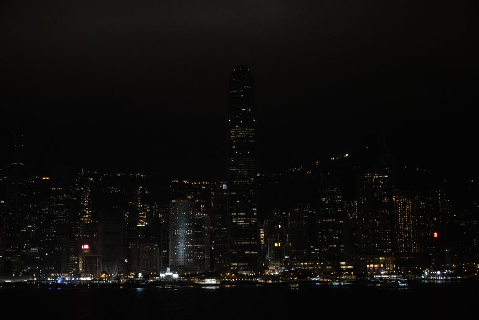 The same skyline, during Earth Hour.