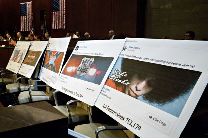 Displays showing social media posts are seen during a House Intelligence Committee hearing in Washington, D.C., U.S., on Wedn