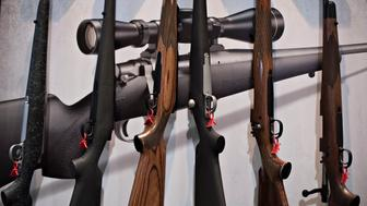 Bolt action rifles sit on display in the Remington Arms Co. LLC booth on the exhibition floor of the 144th National Rifle Association (NRA) Annual Meetings and Exhibits at the Music City Center in Nashville, Tennessee, U.S., on Saturday, April 11, 2015. Top Republican contenders for their party's 2016 presidential nomination are lining up to speak at the annual NRA event, except New Jersey Governor Chris Christie and Kentucky Senator Rand Paul, who were snubbed by the country's largest and most powerful gun lobby. Photographer: Daniel Acker/Bloomberg via Getty Images