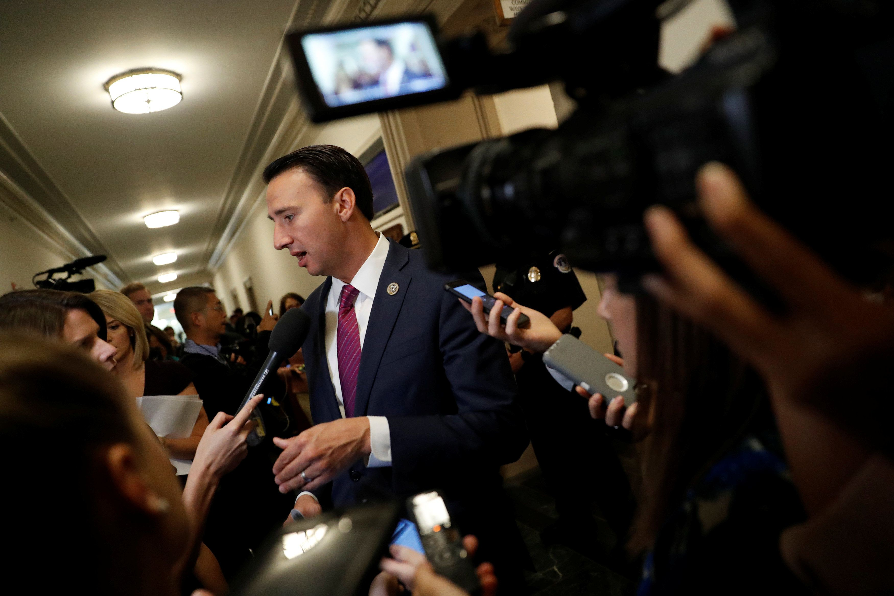 Rep. Ryan Costello (R-PA) speaks with the media following a meeting of the Republican conference ahead of the release of their tax reform plan on Capitol Hill in Washington, U.S., November 2, 2017. REUTERS/Aaron P. Bernstein