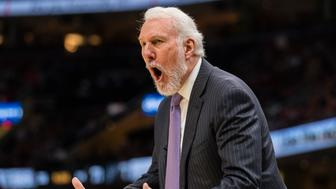 CLEVELAND, OH - FEBRUARY 25: Gregg Popovich of the San Antonio Spurs yells to his players during the second half against the Cleveland Cavaliers at Quicken Loans Arena on February 25, 2018 in Cleveland, Ohio. The Spurs defeated the Cavaliers 110-94. NOTE TO USER: User expressly acknowledges and agrees that, by downloading and or using this photograph, User is consenting to the terms and conditions of the Getty Images License Agreement. (Photo by Jason Miller/Getty Images)