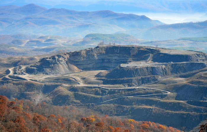 A&G Coal Corporation's idled strip mine scars Looney Ridge in Virginia on the Kentucky border. Reclamation is more than f