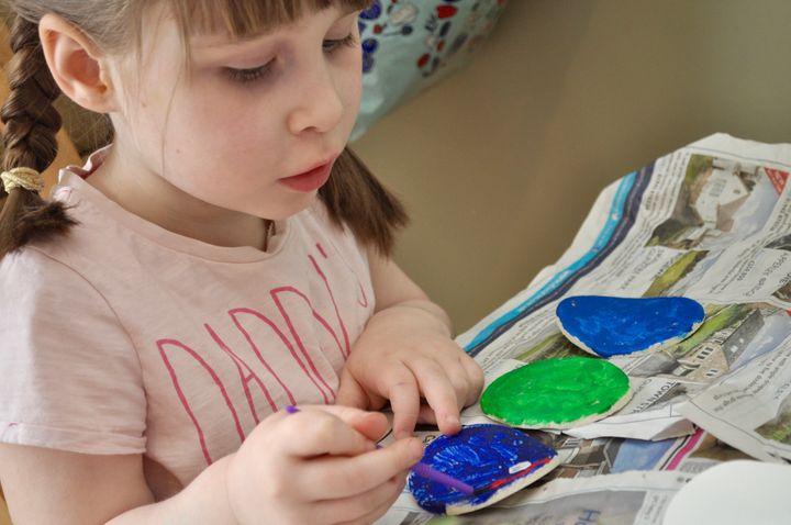 Jo Murricane's daughterEmilia painting her salt dough decorations.