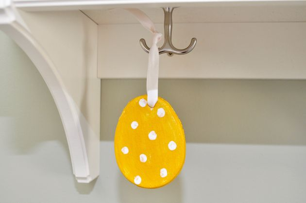 You can paint and then hang up the salt dough Easter eggs around the
