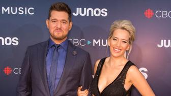 VANCOUVER, BC - MARCH 25: Juno Host Michael Buble and his wife Luisana Lopilato attend the red carpet at The 2018 Juno Awards at Rogers Arena on March 25, 2018 in Vancouver, Canada. (Photo by Phillip Chin/Getty Images)
