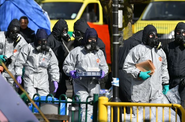 Police in protective suits after the nerve agent attack in