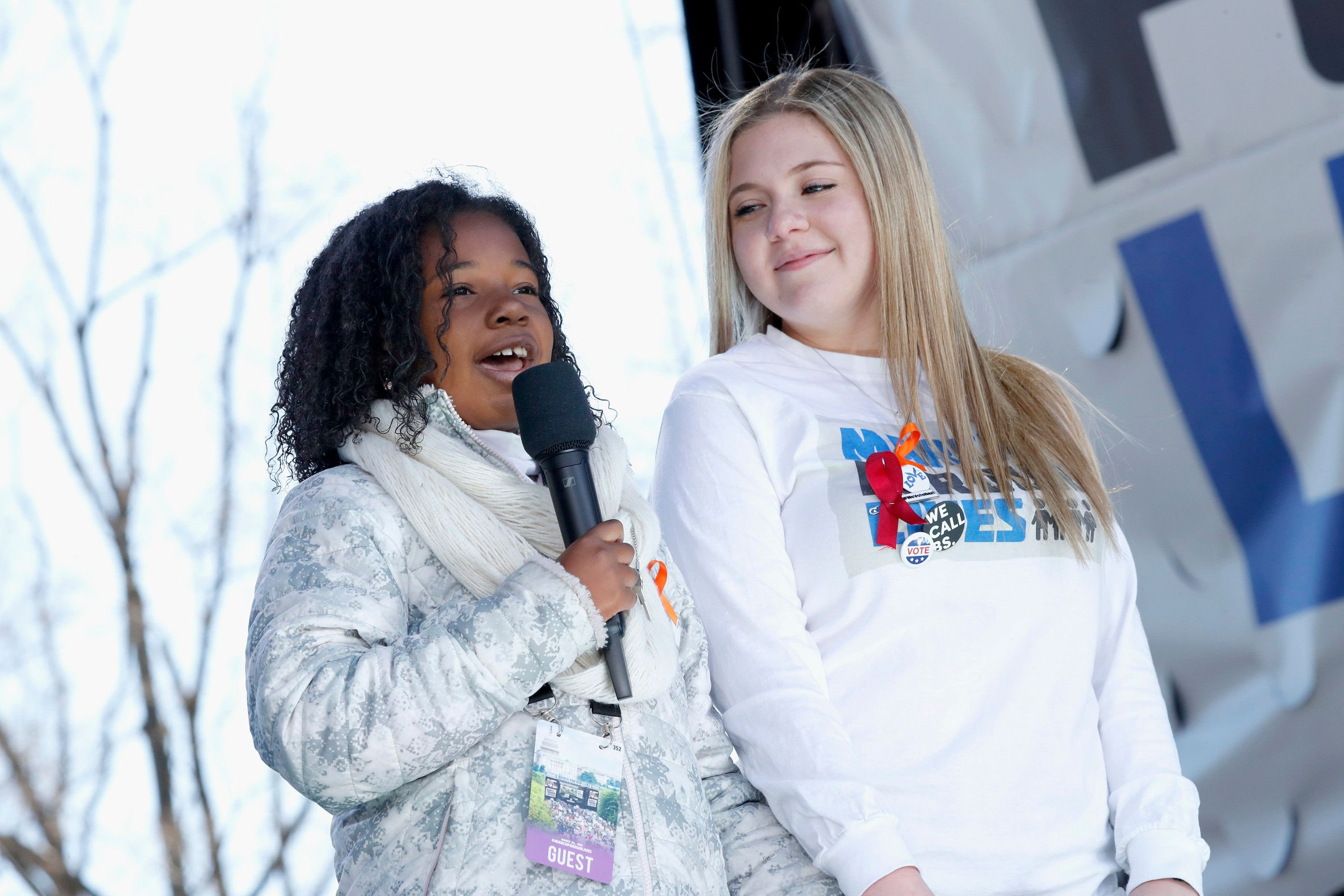 WASHINGTON, DC - MARCH 24:  Yolanda Renee King and Jaclyn Corin speak onstage at March For Our Lives on March 24, 2018 in Washington, DC.  (Photo by Paul Morigi/Getty Images for March For Our Lives)