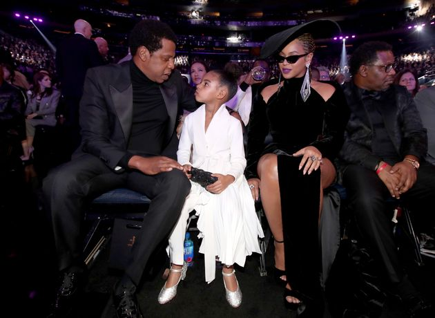Jay-Z, Blue Ivy and Beyoncé at the Grammys, a month after the alleged