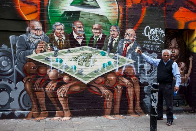 The offensive mural in Brick Lane, London's East End, in