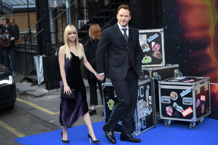 "Anna Faris and Chris Pratt attend a screening of ""Guardians of the Galaxy Vol. 2"" in London in April 2017."