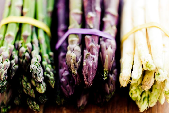 "Green asparagus is the most popular variety, but it also comes in purple and <a href=""https://www.huffingtonpost.com/entry/wh"