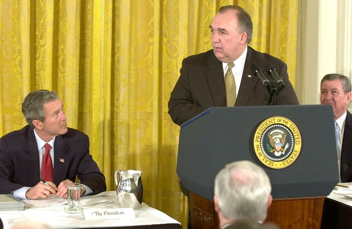 Then-Michigan Gov. John Engler, speaking here in February 2002, spearheaded a historic effort to slash environmental regulati