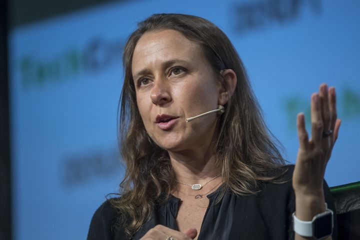 Anne Wojcicki, CEO of 23andMe, speaks during a September 2017 event in San Francisco.