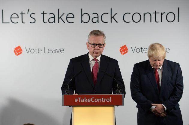Michael Gove and Boris Johnson after winning the EU