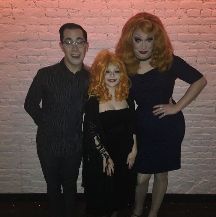 Katastrophe Jest (center) with Jinkx Monsoon (right) and Major Scales (left) in January 2018.