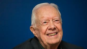 NEW YORK, NY - MARCH 26: Former U.S. President Jimmy Carter smiles during a book signing event for his new book 'Faith: A Journey For All' at Barnes & Noble bookstore in Midtown Manhattan, March 26, 2018 in New York City. Carter, 93, has been a prolific author since leaving office in 1981, publishing dozens of books. (Photo by Drew Angerer/Getty Images)