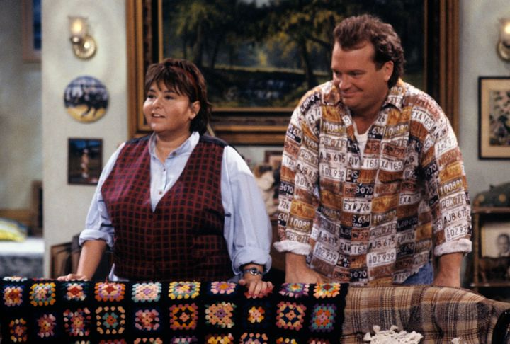 "Roseanne Barr and Tom Arnold on the set of the original ""Roseanne"" in 1990."