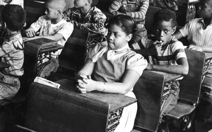 Linda Brown at a desk in a racially segregated classroom in Topeka, Kansas, March 1953.