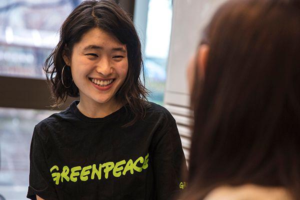 지난 3월 15일, 그린피스 김민지 캠페이너와 최가은 후원자가 대화를 나누고