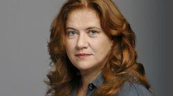 Linken-Aktivistin Jutta Ditfurth mit Metallstock