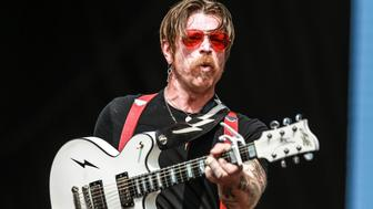 SAO PAULO, BRAZIL - MARCH 12:  American singer Jesse Hughes performs during Eagles of Death Metal show as part of the first day of Lollapalooza festival at the Autodromo Jose Carlos Pace in on March 12, 2016 in Sao Paulo, Brazil. (Photo by William Volcov/Brazil Photo Press/LatinContent/Getty Images)