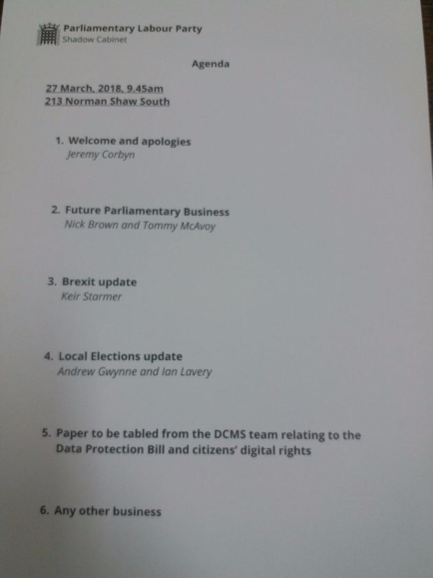 The agenda for Tuesday's shadow cabinet